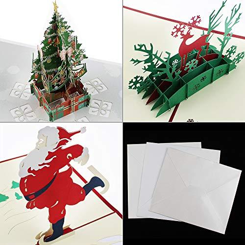 KingYH 3 Pezzi Biglietti di Auguri di Natale 3D Pop Up Cartoline di Natale con Buste Babbo Natale...