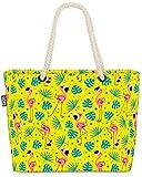 VOID Flamingo Palms Amarillo Bolsa de Playa 58x38x16cm 23L Shopper Bolsa de Viaje Compras Beach Bag Bolso