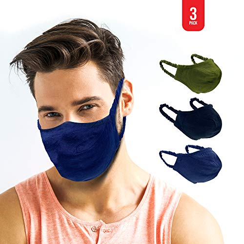 MADDY Face Mask Adult, 2-Layer Breathable Medium Sized Washable Cloth, Stretchy Ear Loop for Perfect Shape - Reusable, Reversible - Black, Navy Blue, Army Green (Pack of 3)