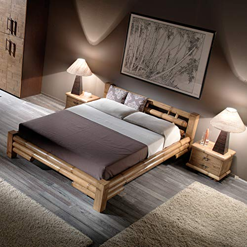 Bambusbett TABANAN 180 x 200 Natur | Hochwertiges Bett aus Bambus im Kolonial Stil | Holzbett Doppelbett Rustikal