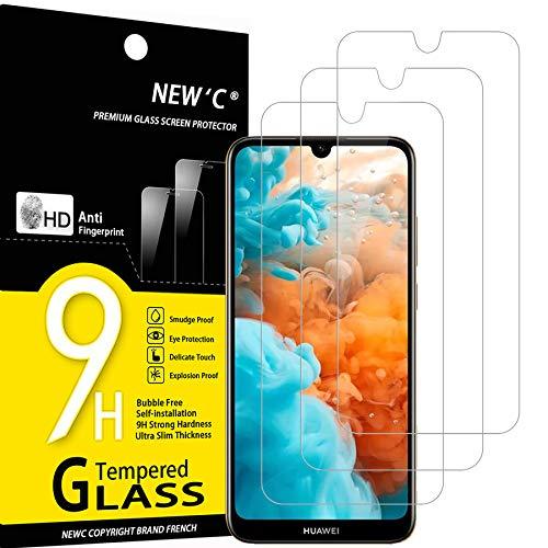 NEW'C 3 Stück, Schutzfolie Panzerglas für Huawei Y6 2019, Y6 Prime (2019), Frei von Kratzern, 9H Festigkeit, HD Bildschirmschutzfolie, 0.33mm Ultra-klar, Ultrawiderstandsfähig
