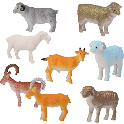 FLAMEER 8pcs Plástico Oveja Cabra Cordero Animales Granja Patio Figuras Niños Fiesta Bolsa Relleno
