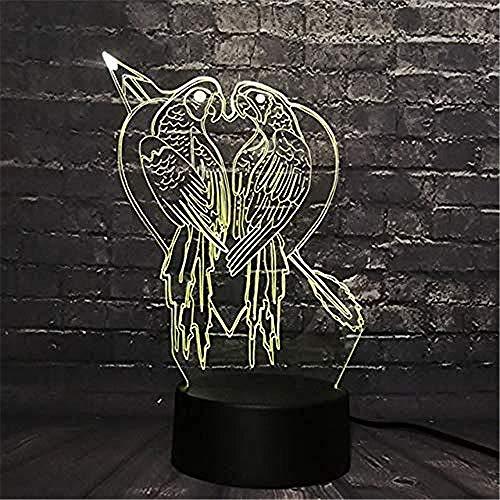3D Kuss Vogelhaus Dekoration Led Nachtlicht Schreibtisch Tisch Lava Lampara Rgb 7 Farbwechsel Junge Kind Spielzeug Usb Basis Schalter Kreative