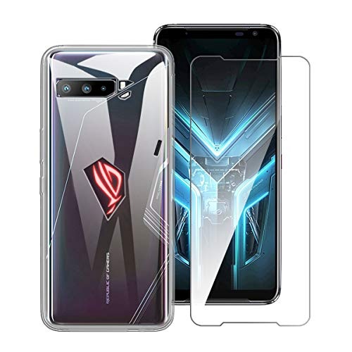 LJSM Funda para ASUS ROG Phone 3 ZS661KS + Protector de Pantalla Vidrio Templado Película Protectora - Transparente Carcasa Silicona TPU Suave Caso Case para ASUS ROG Phone 3 ZS661KS (6.59')