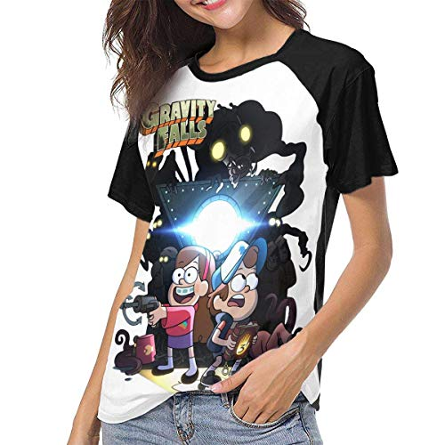 JEWold Gravity Falls Characters Women's Baseball Short Sleeves Black Raglan T-Shirts Tee T Shirts for Women Frauen Kurzarm T-Shirts
