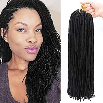 6Packs/Lot Micro Locs Crochet Hair Braids 18 Inch Sister locs Slender Straight Goddess Faux Locs Crochet Hair Synthetic Braiding Hair Extensions For Women 1B#