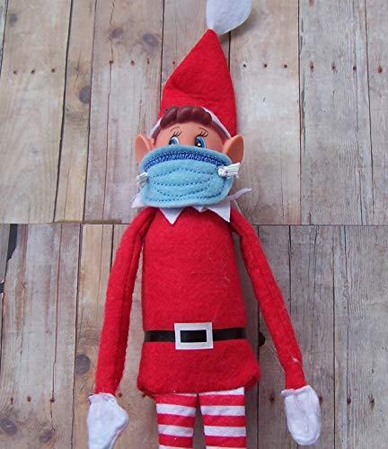 Set of 3 Elf Quarantine Christmas Shelf Sitter 2020 Humor Elf Face Mask Handmade Felt Embroidered
