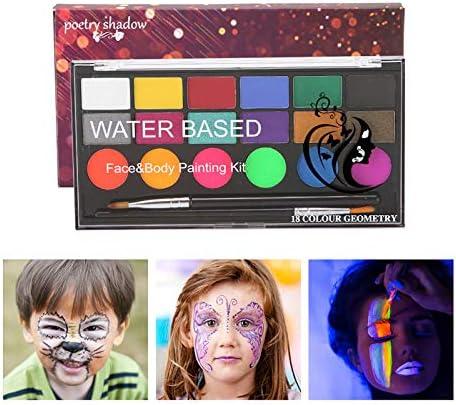 Watergeactiveerde schmink Fesjoy 18 kleuren schminkkit 6 normale verven en 6 pareleffectverven en 6 UVglansverven met 2 borstels Veilige nietgiftige schminkpalet op waterbasis Schminkpalet