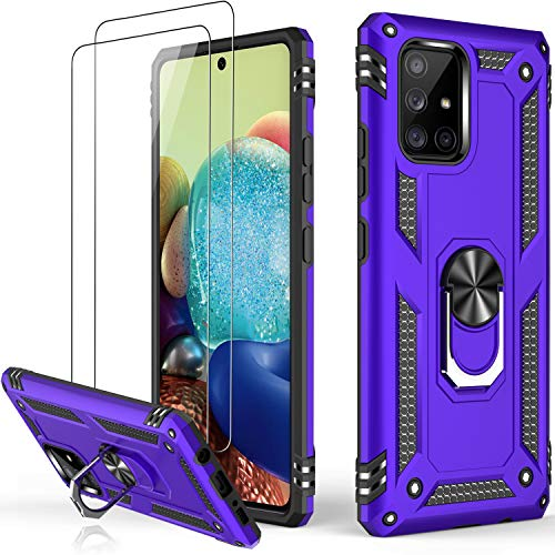 LUMARKE Galaxy A71 Case,Pass 16ft. Drop Tested Military Grade Cover with Magnetic Ring Kickstand Compatible with Car Mount Holder,Protective Phone Case for Samsung Galaxy A71 4G LTE Purple
