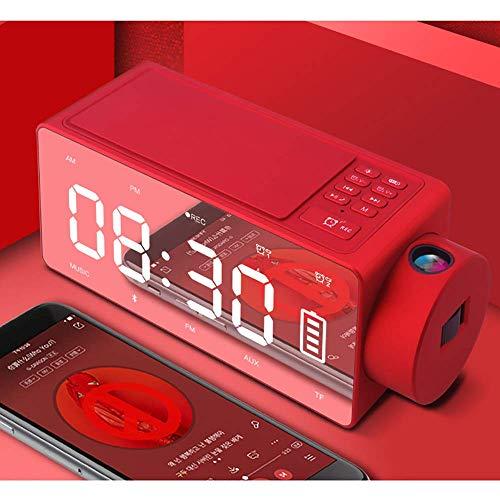 Draadloos opladen Smart wekker Projection Bluetooth Speaker, Portable Creative Decoratie Bluetooth Speaker, Bluetooth 4.2, Wireless afstand 10M ZHNGHENG (Color : Red)