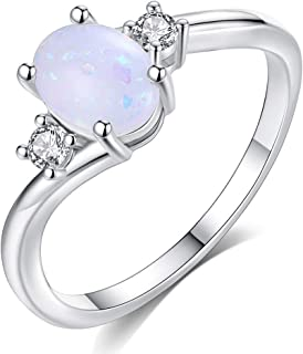 HYLJZ Anello Engagement Rings Bridal Cubic Zirconia Oval Cut Synthetic Fire Opal Women's Ring