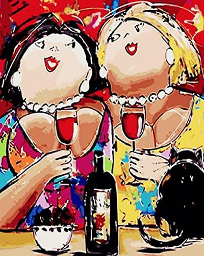 Malen Nach Zahlen Erwachsene,Dicke Frau mit Rotwein 40 X 50cm DIY Leinwand Gemälde Für Erwachsene Und Kinder, Enthält Acrylfarben Und 3 Pinsel