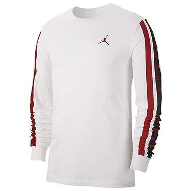 Jordan Mens Long Sleeve Cotton AIR Crew T-Shirts Bq5571-100