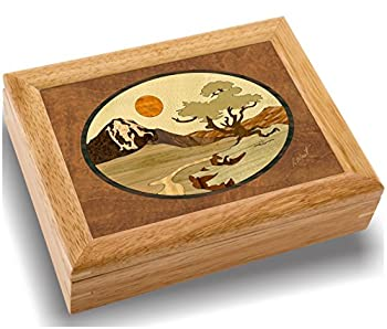 Wood Mountain Box - Handmade in USA - Unmatched Quality - Unique No Two are the Same - Original Work of Wood Art A Mountain Tree Gift Ring Trinket or Wood Jewelry Box  #2102 Mountain 6x8x2