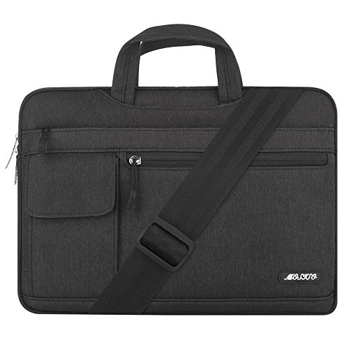 MOSISO Laptop Briefcase Shoulder Bag Compatible with 2019 MacBook Pro 16 inch Touch Bar A2141, 15-15.6 inch MacBook Pro Retina, Notebook, Messenger Polyester Flapover Sleeve Case, Black