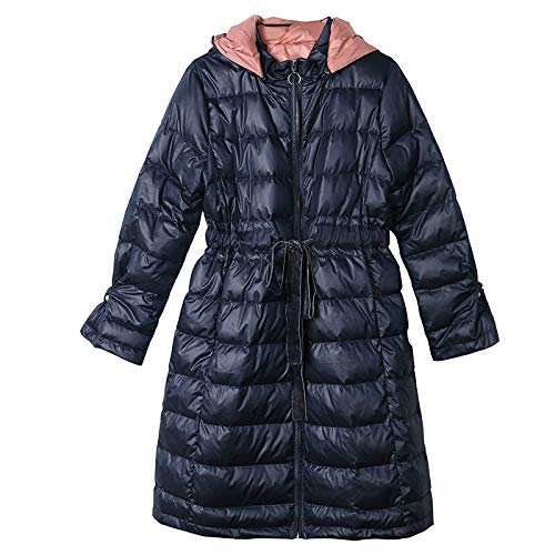 Chaqueta De Plumas para Mujer,Abrigo Acolchado De Parka De Invierno para Mujer con Azul Marino Largo...