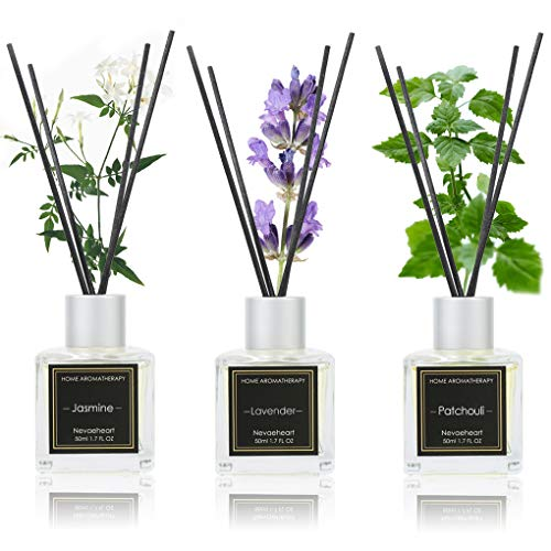 NEVAEHEART Reed Diffuser Set of 3 | Jasmine/Lavender/Patchouil 1.7OZ x 3 | Oil Diffuser & Scented Sticks | Room Freshener Home Decor & Office Decor | Room Fragrance Reed Diffuser Set with Gift Box