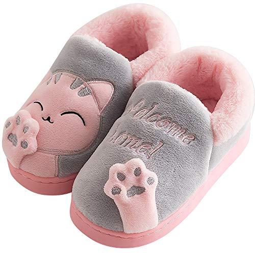Acfoda Winter Plush Slippers with Cartoon Cat for Unisex Adult Children Size 21-44 Grey Size: 5/6 UK
