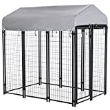 PawHut 6' x 4' x 6' Large Outdoor Dog Kennel Galvanized Steel Fence with UV-Resistant Oxford Cloth Roof & Secure Lock