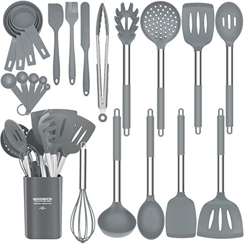 Silicone Kitchen Utensils Set for Cooking, Upgraded 23 pcs Cooking Utensils Set with Stainless Steel Handle, Spatula, Holder, Kitchen Utensil Set for Non-stick Cookware by FODCOKI, Gray