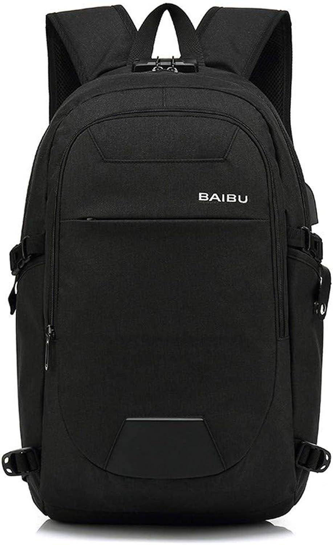 BAJIANLI Double shoulder bag men waterproof outdoor travel backpack USB charging leisure business computer bag,black