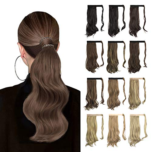Sofeiyan Curly Ponytail Extension 15 Inch Heat Resistant Synthetic Natural Wavy Hairpiece Wrap Around Pony Tail Hair Extensions for White Black Women Hair Piece, Light Golden Brown&Pale Golden Blonde