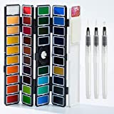 Artsy Watercolor Paint Set – 38 Assorted Colors with 3 Brushes in a Carrying Case – Professional Foldable Watercolor Field Sketch Set Perfect for Artists Students, Kids, Beginners & More