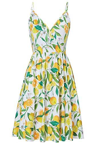 Ärmelloses Strandkleid Damen Sommer A-Linie Swing Kleid Knielang Zitrone Midikleid Elegant Sommerkleid verstellbaren Spagettiträgern Cocktailkleid M