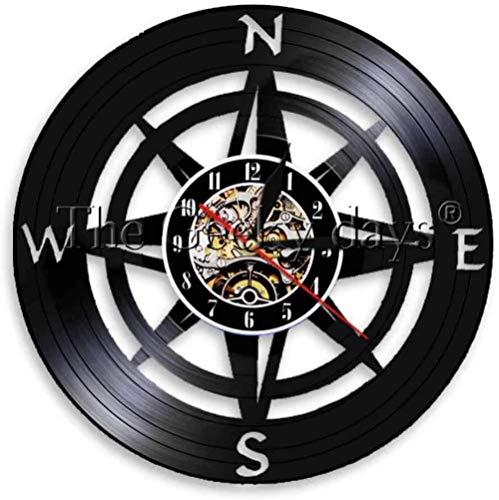 1 stuk Artistieke Kompas Thema Vinyl Wandklok Zee Navigatie Nachtlampje Vintage Vinyl Record Wandklok-A