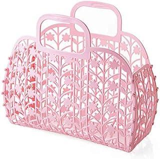 SUBIN Pliable Plastique Bath Votre Panier Bath Panier Panier De Rangement Boîte De Rangement,Pink