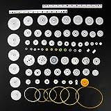 X-BAOFU, 75PCS de Engranajes de plástico, Rack, polea, la Correa, Engranaje de Gusano, una Sola y de Doble Engranaje de Dientes 8-56 (Color : AS Show)