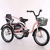 Triciclo para adultos Bicicletas de 3 ruedas, triciclo 16/18 pulgadas 3 ruedas bicicletas de crucero bicicletas cómodas dos plazas, bicicletas de tres ruedas triunas de crucero con cesta de compras pa