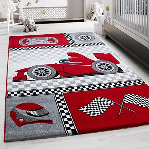 Ayyildiz - Alfombra Infantil, diseño de Coche de Carreras, Color Rojo, Gris, Blanco y Negro