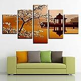 QAZWSY Poster Modular 5 Stück Birne Blume Kleine Pavillon Landschaft Leinwand Gemälde Bilder