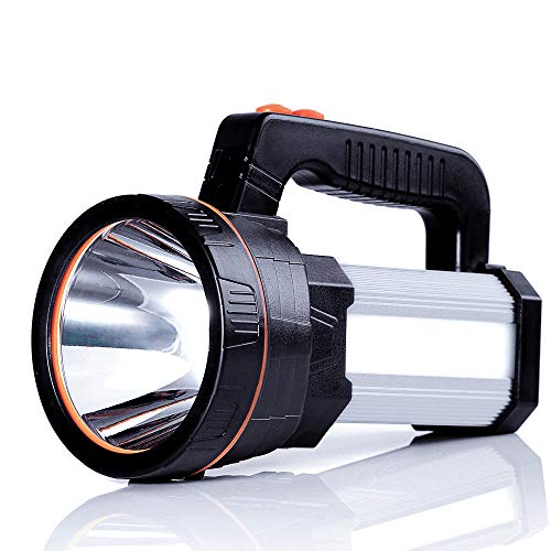 ALFLASH LED Searchlight Rechargeable Handheld Flashlight 7000 Lumens 9000mAh Torch Lantern Waterproof Searchlight Torch Light with 5 Light Model (Silver)