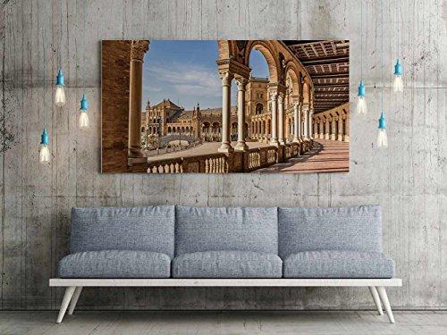Oedim Cuadro Lienzo Impresión Digital Urbano Plaza España Sevilla | Multicolor | Cuadro Lienzo 150 x 60 cm | Lienzo Enmarcado Ligero, Resistente y Económico