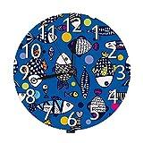 Lewiuzr Reloj de Pared de Peces Bonitos, Acuario, Peces de Colores, Dibujos Animados, Animales del océano, garabatos, Vida Marina, Reloj de Pared Redondo silencioso Marino sin tictac