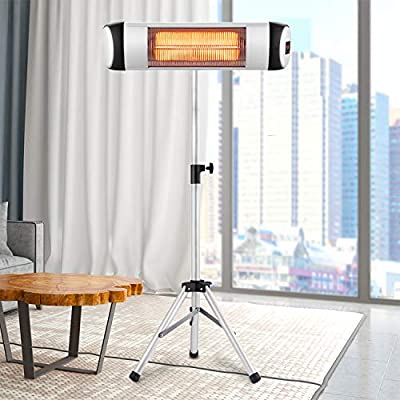 RMYHOME Infrared Patio Heater, Standing Electric Heater for Outdoor or Indoor, Free-Standing & Wall-Mounted Design, Adjustable Stainless Steel Tripod, Energy Saving and Safety Protection