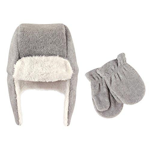 Hudson Baby Unisex Fleece Trapper Hat and Mitten Set, Heather Gray Toddler, 12-18 Months