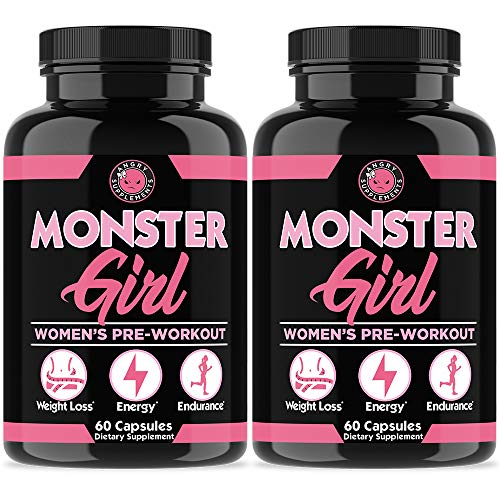Monster Girl, Women's Pre-Workout + Recovery by Angry Supplements, Apple Cider Vinegar & Garcinia Cambogia, Weight Loss & Shape - Boosts Energy w. Caffeine, Yerba Mate, Ginseng & Guarana (2-Bottles)