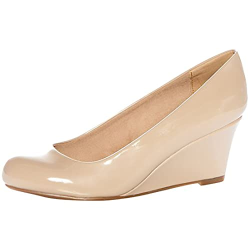 4653a21833 Forever Link Women's DORIS-22 Patent Round Toe Wedge Pumps