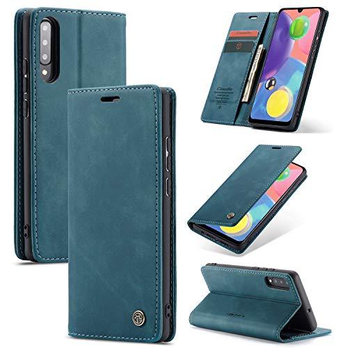 liyuzhu Para Samsung A70S Funda Magnética Mobile, Cubierta de Cuero PU Funda de teléfono móvil Ultra-Delgada [[Stand] Ranura de Tarjeta, [Carga inalámbrica] (Color : Azul)