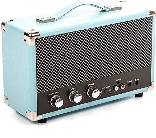 Enceinte GPO Westwood Retro 25 Watt avec caisson de basses, entrée RCA, Bluetooth avec grille rétro et poignée de transport - Bleu