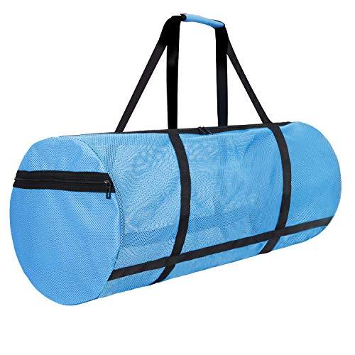 LIVACASA Borsa da Immersion Mesh Grande 100L con Tasche Laterali Cerniera Lunghezza 90CM Sacche da Immersione in Rete per Attrezzature da Snorkeling Borsone da Spiggia Mare Nuoto Blu