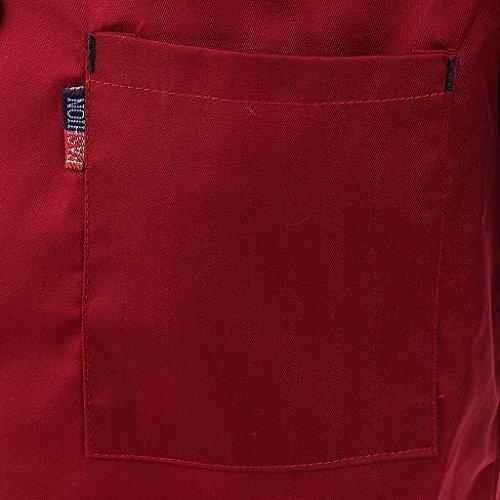 MagiDeal Herren und Damen Kurzarm atmungsaktiv Kochjacke mit Paspel und Knöpfe im verschiedenen Farben – Rot, XL - 6