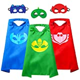 VOSOE Superhero Capes with Masks Cosplay Costumes Birthday Party Christmas Halloween Dress up Gift for Kids (PJ 3set)