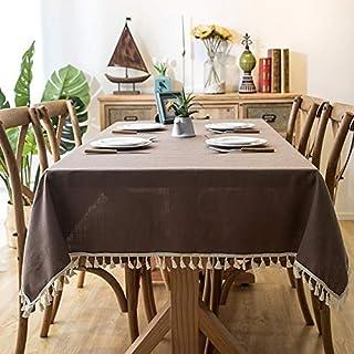 CRTTRC Couleur unie en lin imperméable et résistant à l'huile Nappe jardin de table en dentelle Couverture d'impression de...