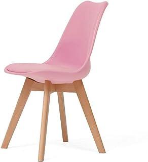 CHENSHJI Cocina Sillas de Comedor Silla De Oficina Cojín Antideslizante Impermeable Simple Montaje De Protección Ambiental (Color : Pink, Size : 43x43x83cm)