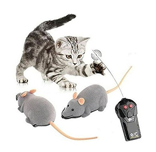 Fusicase Toys, Fashion Cool Style New Remote Control Rat Mouse Wireless Toy for Cat Kitten Dog Pet Novelty Gift Trick/Playing with Cat(Gray)