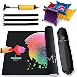 Piece Movement Jigsaw Puzzle Mat – Puzzle Roll Up Mat 1000 to 1500 Pieces with Inflatable Tube + Pump, 3 Fasteners, 4 Sorting Trays, and 1 Carrying Bag by Mill & Mint
